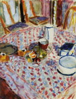 Pierre Bonnard Still Life on a Red Checkered Tablecloth