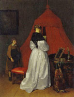 Workshop of Gerard ter Borch - Woman Reading a Letter with a Servant