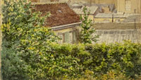 Gustave Caillebotte View from a Window over Garden and Rooftops