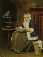 Gabriel Metsu Woman Sewing with a Parrot