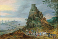 Joos de Momper II and attributed to Jan Brueghel the Elder A coastal landscape with fishermen by the Tomb of Scipio