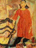 Chaim Soutine - Young Girl in Red Beside a Chair