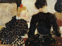 Edouard Vuillard Back View of Two Girls in the Sewing Room