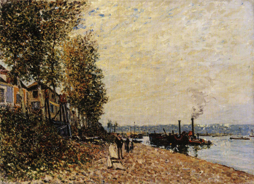 Alfred Sisley - A Tug on the River Loing, Saint-Mammès