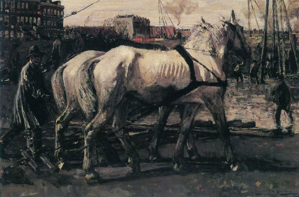 George Hendrik Breitner - Two White Horses Pulling Posts in Amsterdam