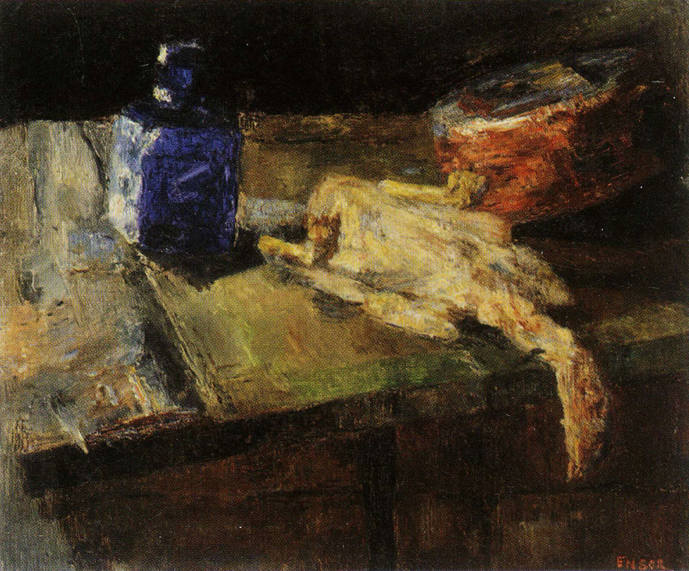 James Ensor - Blue Flask and Chicken