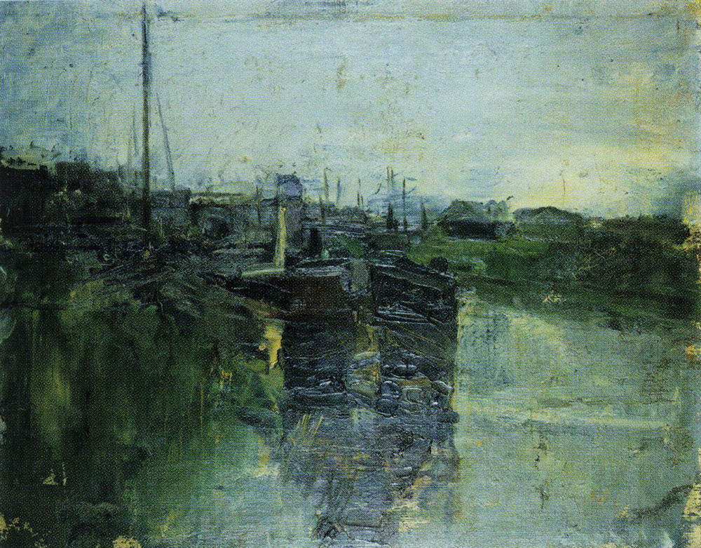 James Ensor - Canal with Barges