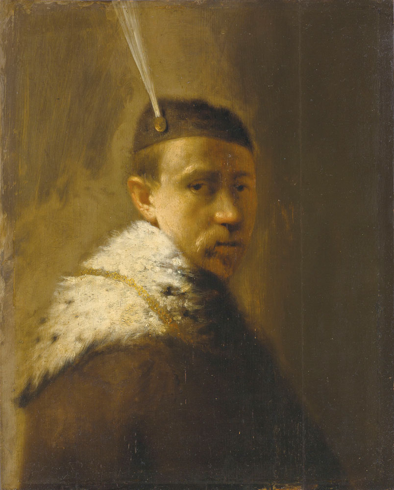Follower of Rembrandt - A man in a fur coat and a feathered hat