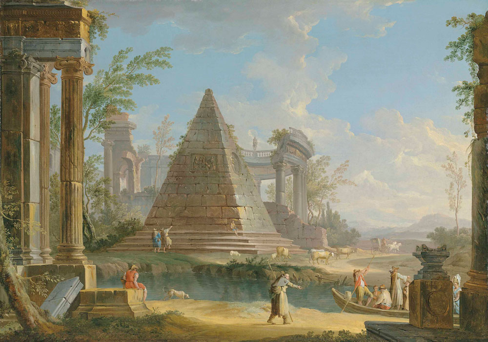 Giuseppe Zocchi - An architectural capriccio with figures ferried along a river, an extensive landscape beyond