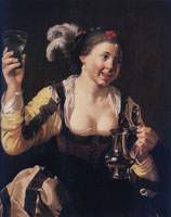 Hendrick ter Brugghen and workshop - Girl Holding a Tankard and a Glass