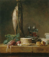 Jean-Siméon Chardin Still Life with Fish, Vegetables, and Cruets