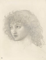 Edward Coley Burne-Jones Study for the head of the Angel in 'Le Chant d'Amour'
