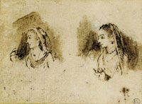 Rembrandt Two Heads of Women after an Indian Painting