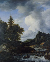 Jacob van Ruisdael Mountainous Landscape with a River in Spate