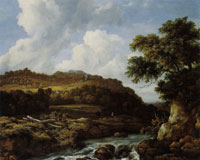 Jacob van Ruisdael Rushing Stream and Low Waterfall in a Mountainous Wooded Landscape