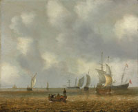 Willem van Diest - Shipping and vessels on a calm sea