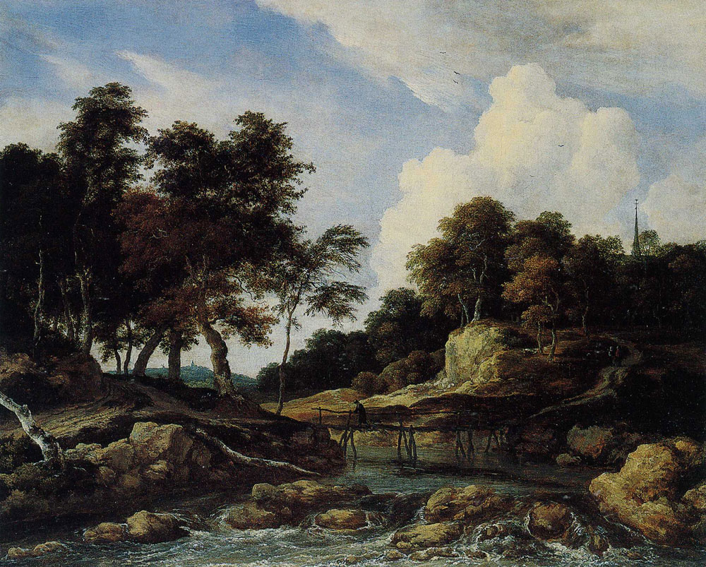 Jacob van Ruisdael - Wooded River Landscape with a Low Waterfall and a Footbridge
