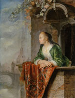 Gerard Dou and Studio Young Lady on a Balcony