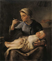 Jean-François Millet Woman Feeding her Child Porridge