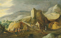 Joos de Momper II and Sebastiaen Vrancx A mountainous landscape with soldiers preparing an attack by a bridge
