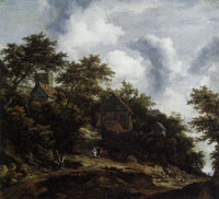 Jacob van Ruisdael - Hilly Landscape with a View of Bentheim Castle and Cottages