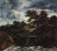Jacob van Ruisdael Wooded Landscape with a Waterfall, Half-timbered House and Church