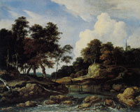 Jacob van Ruisdael Wooded River Landscape with a Low Waterfall and a Footbridge