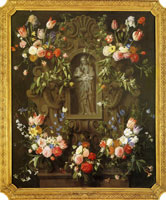 Daniel Seghers and Thomas Willeboirts Bosschaert Garland of Flowers with the Virgin Mary