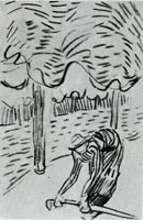Vincent van Gogh A Woman Picking Up a Stick in Front of Trees