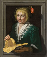 Werner van den Valckert A girl holding pancakes in a feigned stone window