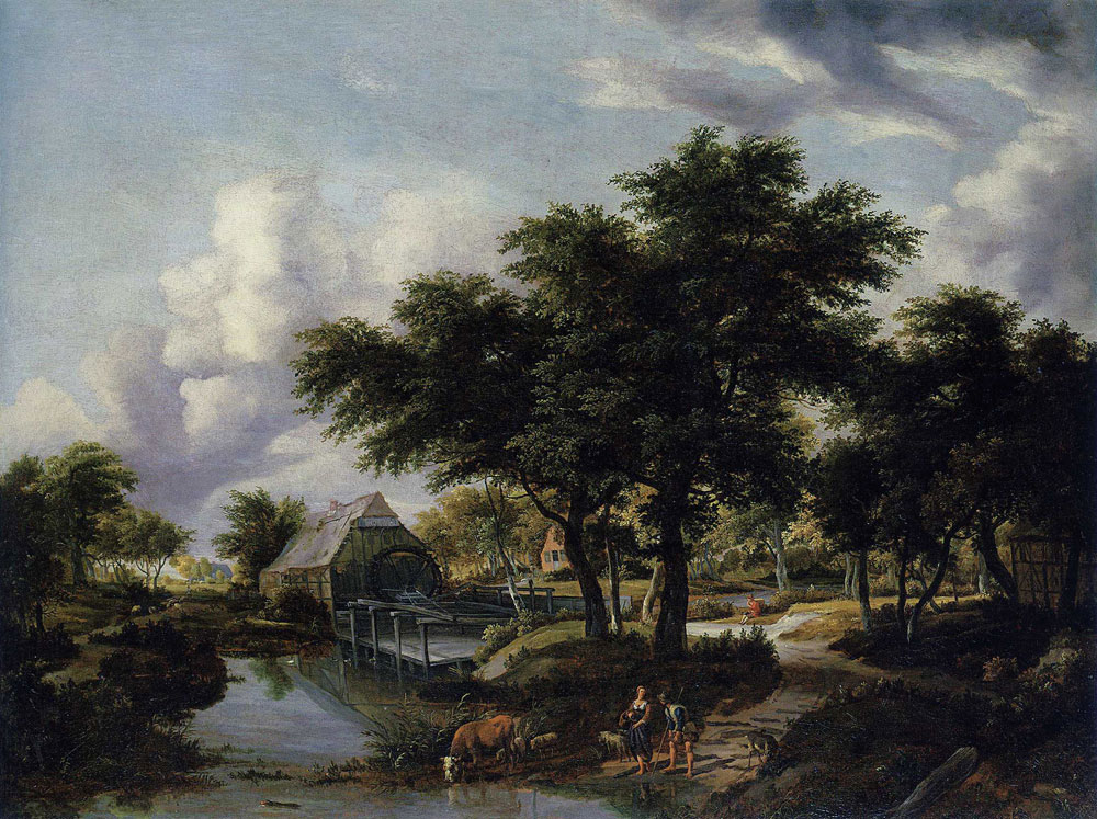 Meindert Hobbema - Wooded Landscape with a Watermill
