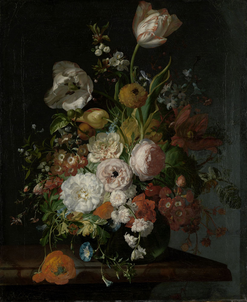 Rachel Ruysch - Still Life with Flowers in a Glass Vase