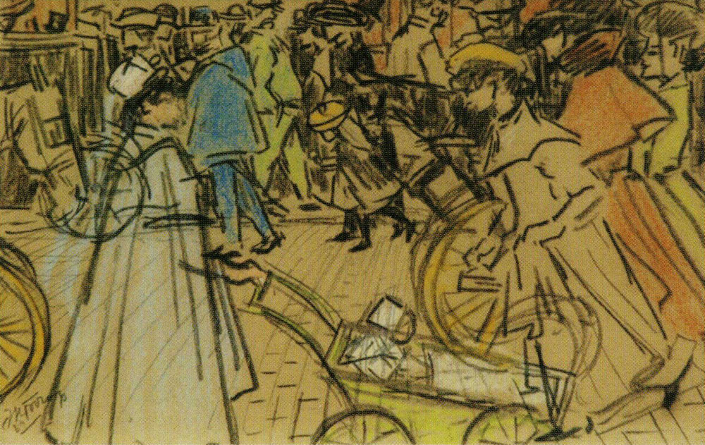 Jan Toorop - Walkers on a Boulevard in Paris
