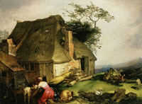 Abraham Bloemaert A cottage with peasants milking goats