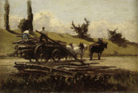 Camille Pissarro Cart with Logs