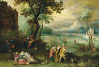 Studio of David Vinckboons Elegant company making merry in an ornamental garden by a country house - an allegory of the five senses