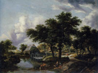 Meindert Hobbema Wooded Landscape with a Watermill