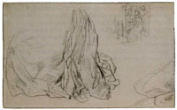 Matthijs Maris Drapery Study and Composition Sketch for He Is Coming!