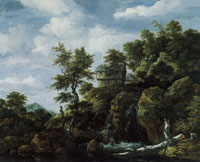 Jacob van Ruisdael Rocky Landscape with a Waterfall