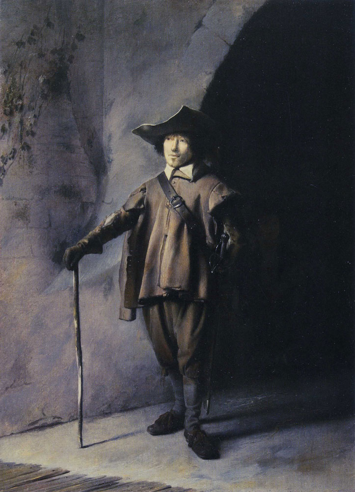 Attributed to Gerard Dou - Standing Man leaning on a Stick