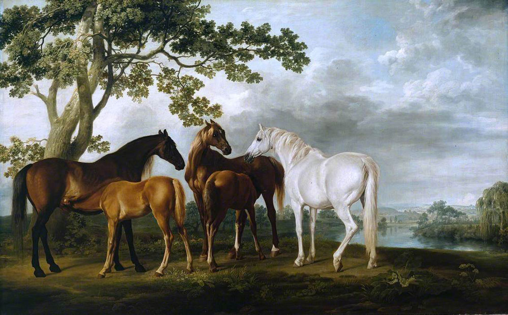 George Stubbs - Mares and Foals in a River Landscape