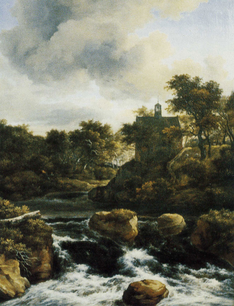 Jacob van Ruisdael - Chapel by a Waterfall