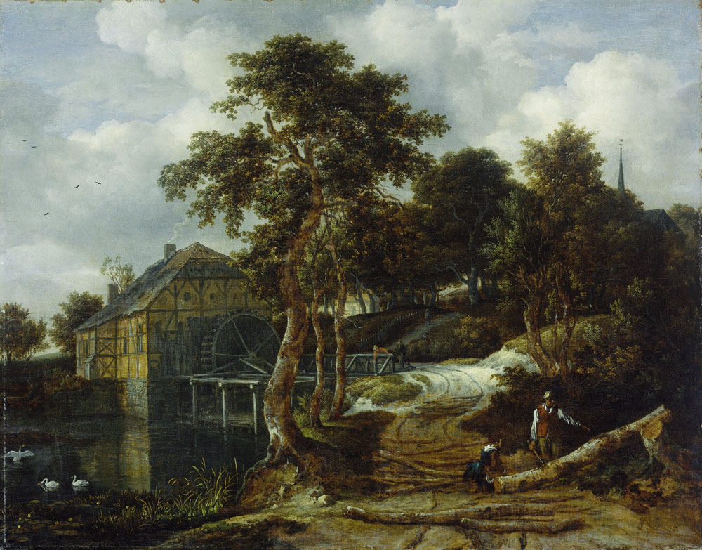 Jacob van Ruisdael - Water Mill in a Wooded Landscape