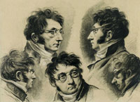 Louis-Léopold Boilly Sheet of Studies with Five Self-Portrait Drawings of the Artist