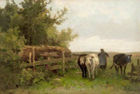 Anton Mauve A Woman Driving Cattle