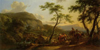 Nicolaes Berchem Italianate Landscape with a Distant View of the Tomb of the Plautii