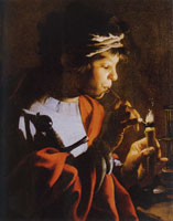 Hendrick ter Brugghen Boy Lighting a Pipe from a Candle
