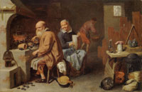 David Ryckaert III Alchemist with His Wife