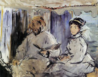 Edouard Manet Claude and Camille Monet in His Studio Boat