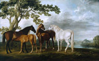 George Stubbs Mares and Foals in a River Landscape
